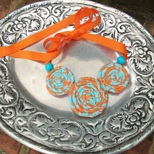 Orange and Turquoise Corsage Necklace