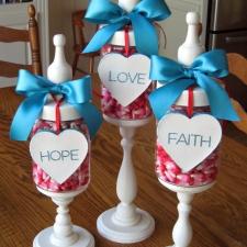 Valentine Apothecary Jars... Faith, Hope, and Love
