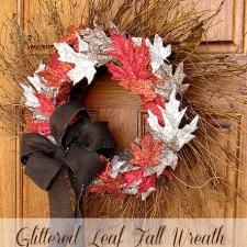 Glittered Fall Leaves Wreath { with Art Glitter! }