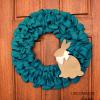 Burlap Ribbon Easter Wreath