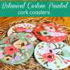 Botanical Custom Painted Cork Coasters ... {Rifle Paper Company Knockoff}