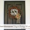 Wood Monogram Twig and Burlap Wreath