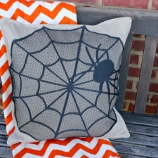 No Sew Spider Web Halloween Pillow Cover