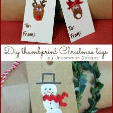 DIY Reindeer and Snowman Thumbprint Christmas Tags