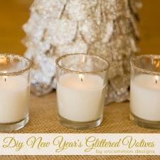 DIY New Year's Glittered Votives