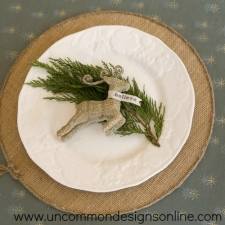 Vintage Glass Glitter Reindeer Ornament
