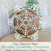 Snow Tipped and Stained Wooden Snowflake Ornaments