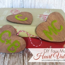 DIY Faux Moss Heart Valentines
