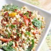 Tomato Spinach and Bacon Pearl Couscous Salad