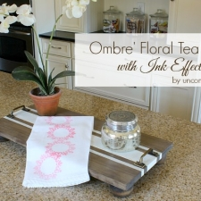 Ombre' Floral Tea Towel with Ink Effects