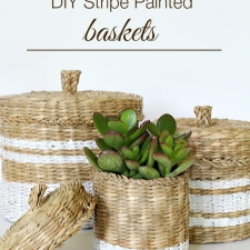 DIY Stripe Painted Baskets