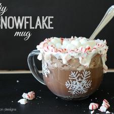 DIY Snowflake Mug and Peppermint Hot Chocolate