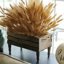 DIY Wheat Crate Centerpiece