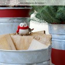 Vintage Stripe Aged Galvanized Buckets