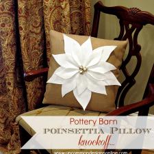 Pottery Barn Inspired Poinsettia Christmas Pillow