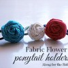 Fabric Flower Ponytail Holders