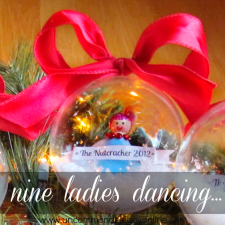 9 Ladies Dancing... Peg Doll Snow Globe Ornament