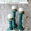 Dip Dyed Wooden Candlesticks
