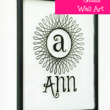 Monogrammed Glass Wall Art using Glass Paint
