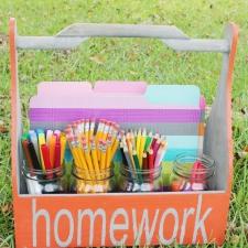DIY Wooden Homework Caddy