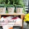 Stenciled DIY House Number Buckets
