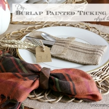 DIY Burlap Painted Ticking Stripe Utensil Holder