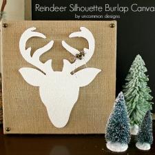 Reindeer Silhouette Burlap Canvas