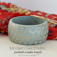 Modern Geometric Painted Wooden Bangle