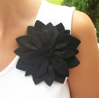 black felt corsage pin
