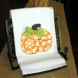 Funky Floral Pumpkin Appliqued Towel Uncommon 2010