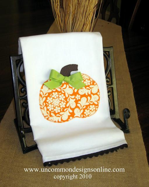 Funky Floral Pumpkin Appliqued Towel Uncommon 2010