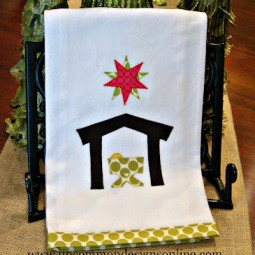 Christmas Appliqued Nativity Towel uncommon
