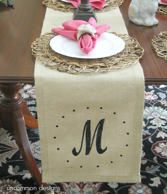 stenciled-monogrammed-burlap-tablerunner-uncommon-designs