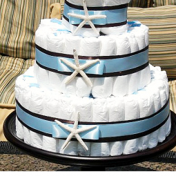 Beach-themed-baby-shower-diaper-cake