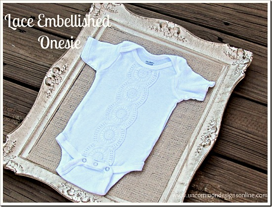Beautiful lace embellished onesie. A sweet gift idea for a new mom and baby! #babygifts #sewing #handmadegifts