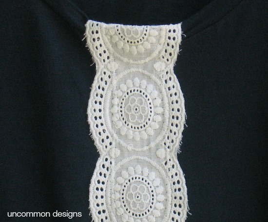 Create a simple and stylish tshirt. A perfect upgrade to a plain staple. So simple and quick! #tshirt #refashion #lace #sewing