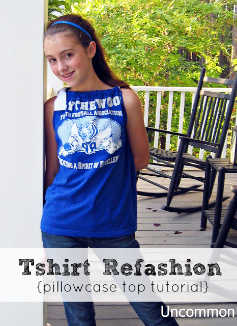 Turn a plain t-shirt into an adorable pillow case top via Uncommon Designs.