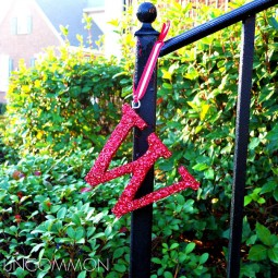 Glittered Initial ornaments