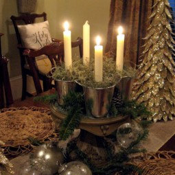 christmas advent table setting lit candles uncommon