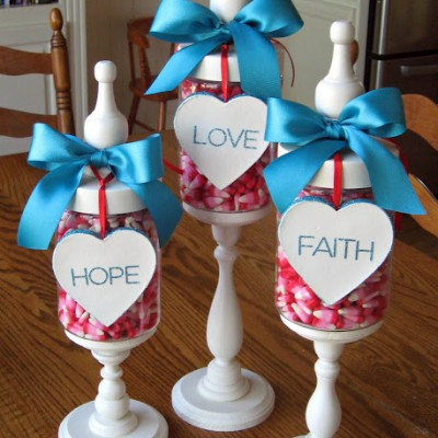 Valentine Apothecary Jars… Faith, Hope, and Love