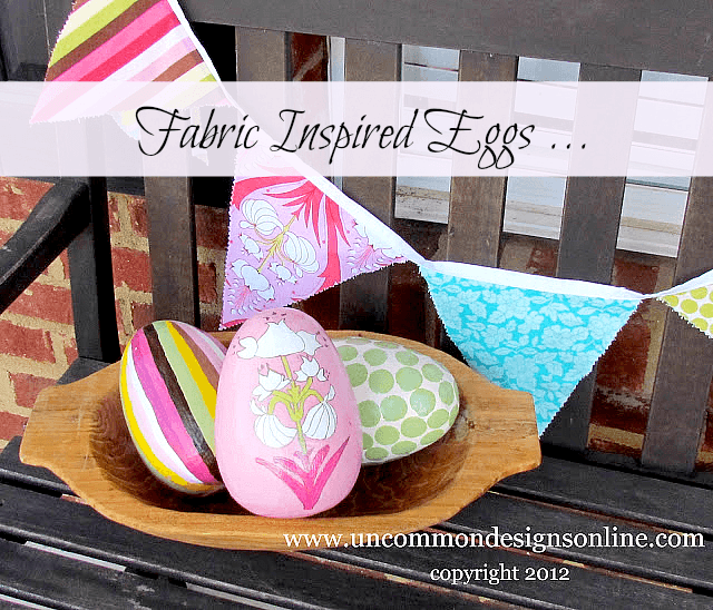 Fabric inspired painted Easter eggs. #Easter #eastereggs #fabric #diycraft