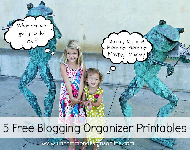 5 free blogging organizer printables