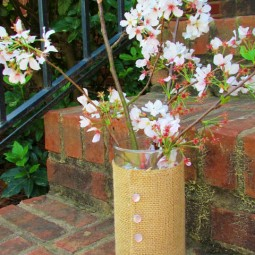 Burlap Covered Vase Mothers day (1)