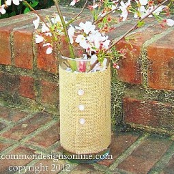 burlap covered vase