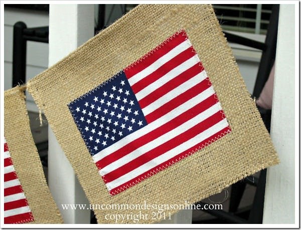 Create this stunning and simple, Burlap American Flag Bunting. This patriotic garland will become your go to decor! #fourthofjuly #americanflag #flagcrafts