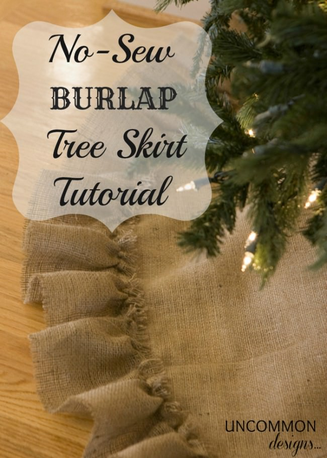 A stunning No Sew Burlap Tree Skirt Tutorial. It starts with a ready made item that makes it so easy to create.