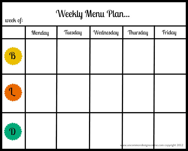 Weekly Menu Plan Uncommon