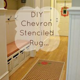 DIY Chevron Stenciled Rug