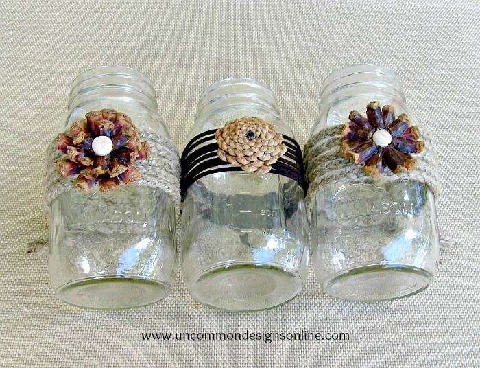 Pine cone mason jar flowers