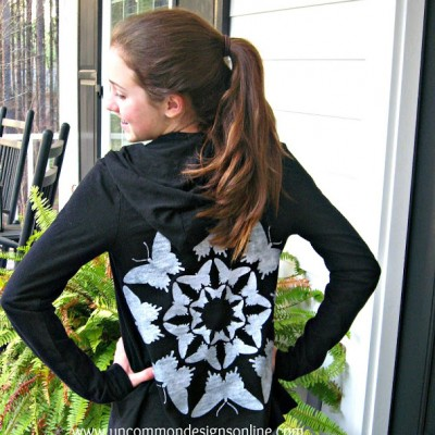 Stenciled Hoodie Refashion… {From the Vault}